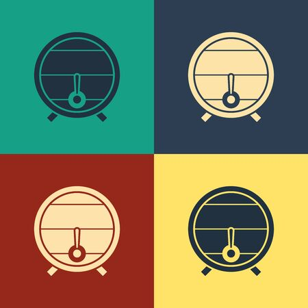 Color Wooden barrel on rack with stopcock icon isolated on color background. Vintage style drawing. Vector Illustration  イラスト・ベクター素材