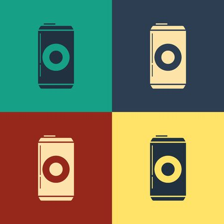 Color Beer can icon isolated on color background. Vintage style drawing. Vector Illustration