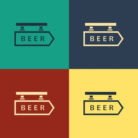 Color Street signboard with inscription Beer icon isolated on color background. Suitable for advertisements bar, cafe, pub, restaurant. Vintage style drawing. Vector Illustration Иллюстрация