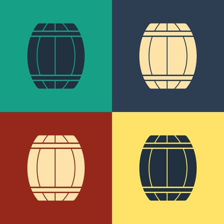 Color Wooden barrel icon isolated on color background. Alcohol barrel, drink container, wooden keg for beer, whiskey, wine. Vintage style drawing. Vector Illustration