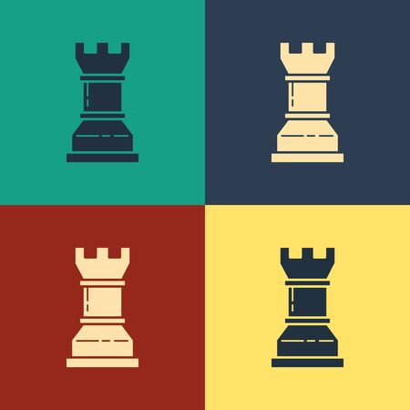Color Business strategy icon isolated on color background. Chess symbol. Game, management, finance. Vintage style drawing. Vector Illustration