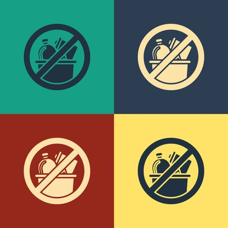 Color No trash icon isolated on color background. Vintage style drawing. Vector Illustration