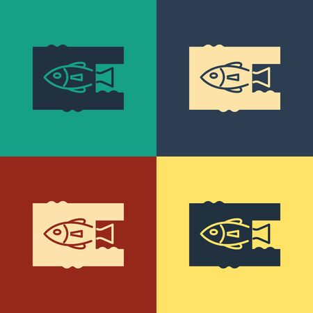 Color Stop ocean plastic pollution icon isolated on color background. Environment protection concept. Fish say no to plastic. Vintage style drawing. Vector Illustration