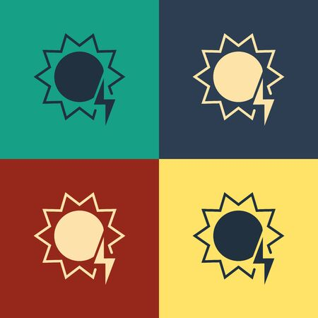 Color Solar energy panel icon isolated on color background. Sun with lightning symbol. Vintage style drawing. Vector Illustration