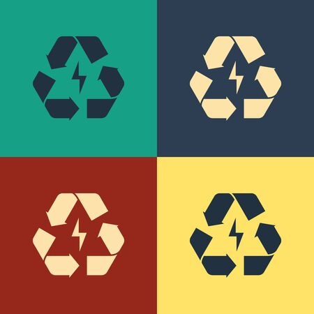 Color Battery with recycle symbol line icon isolated on color background. Battery with recycling symbol - renewable energy concept. Vintage style drawing. Vector Illustration