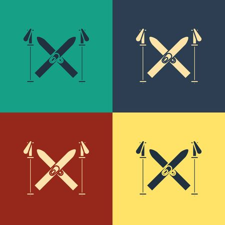 Color Ski and sticks icon isolated on color background. Extreme sport. Skiing equipment. Winter sports icon. Vintage style drawing.
