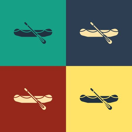 Color Rafting boat icon isolated on color background. Inflatable boat with paddles. Water sports, extreme sports, holiday, vacation. Vintage style drawing. Vector Illustration