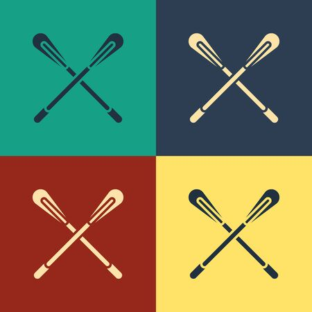 Color Crossed paddle icon isolated on color background. Paddle boat oars. Vintage style drawing. Vector Illustration