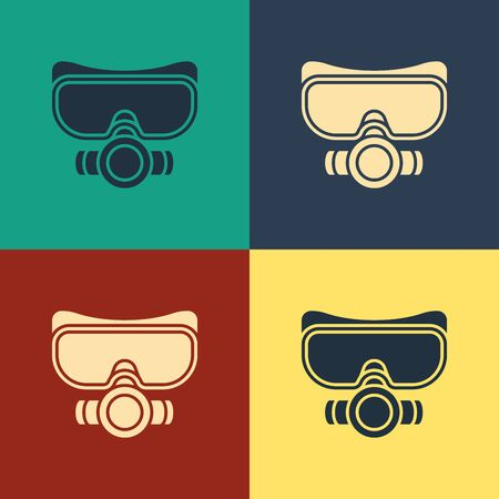 Color Diving mask icon isolated on color background. Extreme sport. Sport equipment. Vintage style drawing. Vector Illustration