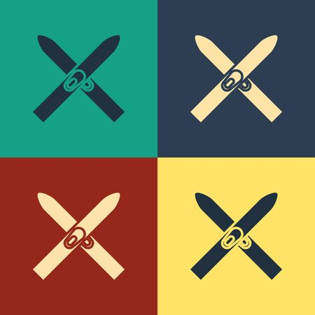 Color Ski and sticks icon isolated on color background. Extreme sport. Skiing equipment. Winter sports icon. Vintage style drawing. Vector Illustration Çizim
