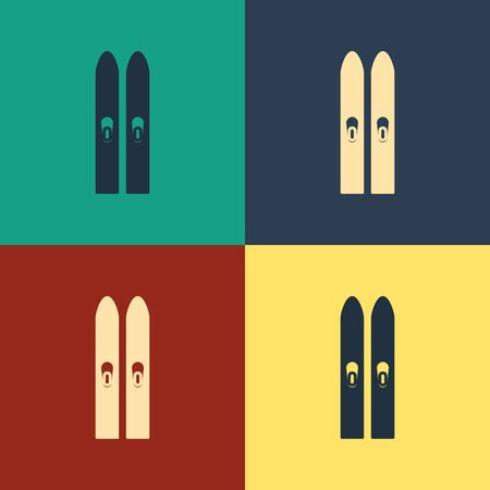 Color Ski and sticks icon isolated on color background. Extreme sport. Skiing equipment. Winter sports icon. Vintage style drawing. Vector Illustration Иллюстрация