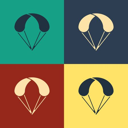 Color Parachute icon isolated on color background. Extreme sport. Sport equipment. Vintage style drawing. Vector Illustration