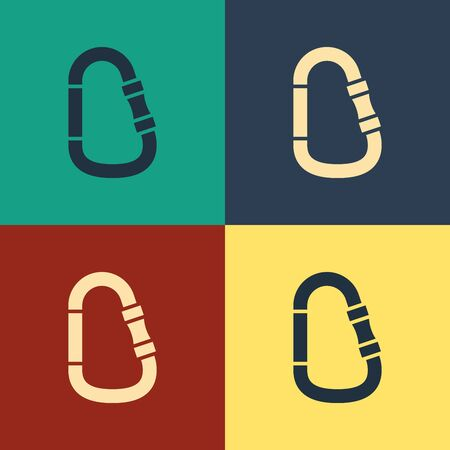 Color Carabiner icon isolated on color background. Extreme sport. Sport equipment. Vintage style drawing. Vector Illustration