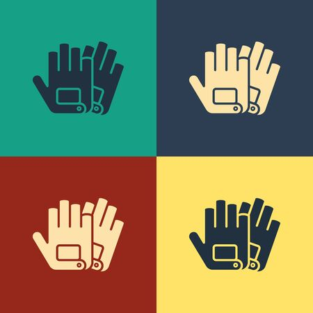 Color Gloves icon isolated on color background. Extreme sport. Sport equipment. Vintage style drawing. Vector Illustration