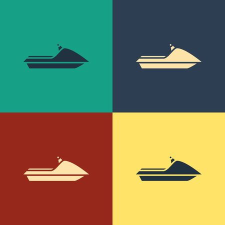 Color Jet ski icon isolated on color background. Water scooter. Extreme sport. Vintage style drawing. Vector Illustration