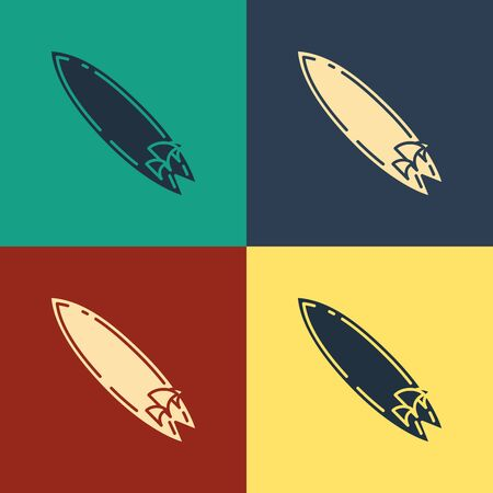 Color Surfboard icon isolated on color background. Surfing board. Extreme sport. Sport equipment. Vintage style drawing. Vector Illustration Ilustração
