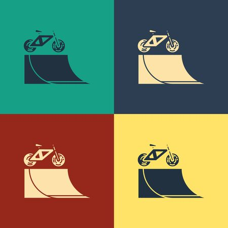 Color Bicycle on street ramp icon isolated on color background. Skate park. Extreme sport. Sport equipment. Vintage style drawing. Vector Illustration