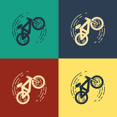 Color Bicycle trick icon isolated on color background. Bike race. Extreme sport. Sport equipment. Vintage style drawing. Vector Illustration