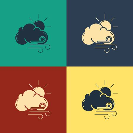 Color Windy weather icon isolated on color background. Sun with cloud and wind. Vintage style drawing. Vector Illustration 写真素材 - 129780422