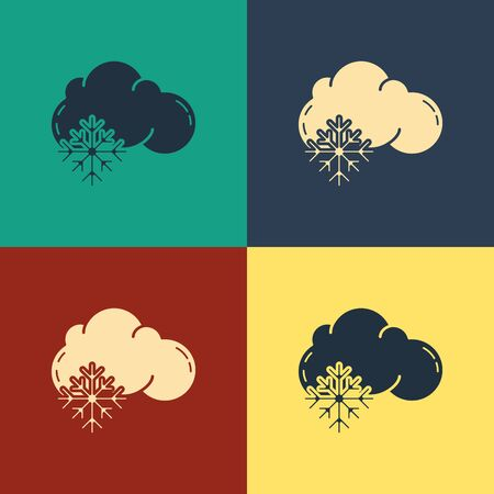 Color Cloud with snow icon isolated on color background. Cloud with snowflakes. Single weather icon. Snowing sign. Vintage style drawing. Vector Illustration