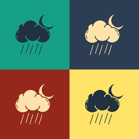 Color Cloud with rain and moon icon isolated on color background. Rain cloud precipitation with rain drops. Vintage style drawing. Vector Illustration