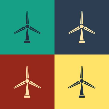 Color Wind turbine icon isolated on color background. Wind generator sign. Windmill silhouette. Windmill for electric power production. Vintage style drawing. Vector Illustration