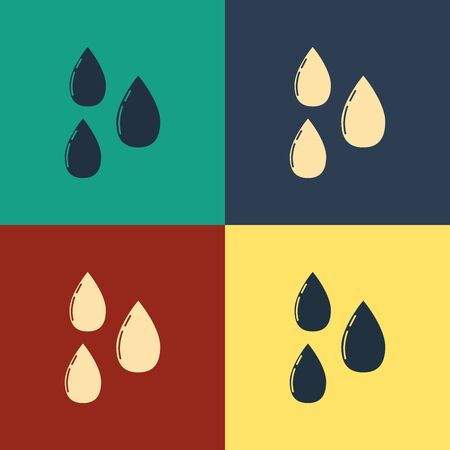Color Water drop icon isolated on color background. Vintage style drawing. Vector Illustration  イラスト・ベクター素材