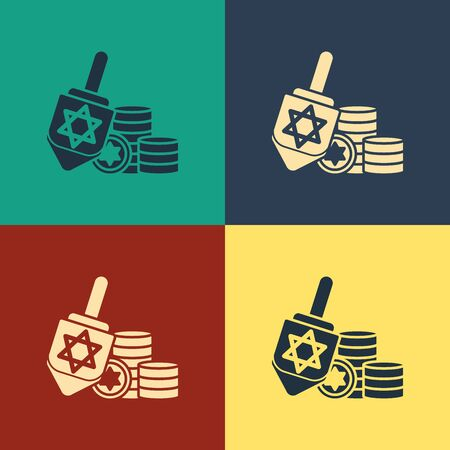 Color Hanukkah dreidel and coin icon isolated on color background. Vintage style drawing. Vector Illustration Ilustração