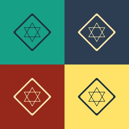 Color Star of David icon isolated on color background. Jewish religion symbol. Symbol of Israel. Vintage style drawing. Vector Illustration