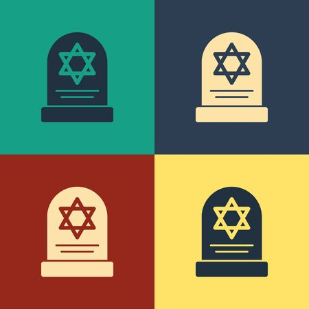 Color Tombstone with star of david icon isolated on color background. Jewish grave stone. Gravestone icon. Vintage style drawing. Vector Illustration 矢量图像