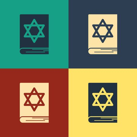 Color Jewish torah book icon isolated on color background. Pentateuch of Moses. On the cover of the Bible is the image of the Star of David. Vintage style drawing. Vector Illustration