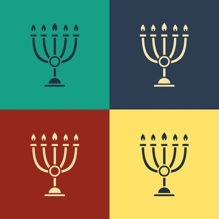 Color Hanukkah menorah icon isolated on color background. Hanukkah traditional symbol. Holiday religion, jewish festival of Lights. Vintage style drawing. Vector Illustration