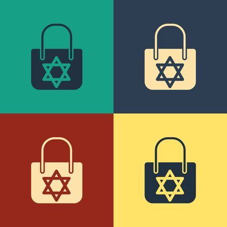 Color Shopping bag with star of david icon isolated on color background. Package sign. Vintage style drawing. Vector Illustration