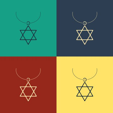 Color Star of David necklace on chain icon isolated on color background. Jewish religion symbol. Symbol of Israel. Jewellery and accessory. Vintage style drawing. Vector Illustration Ilustração