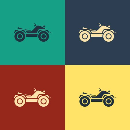 Color All Terrain Vehicle or ATV motorcycle icon isolated on color background. Quad bike. Extreme sport. Vintage style drawing. Vector Illustration