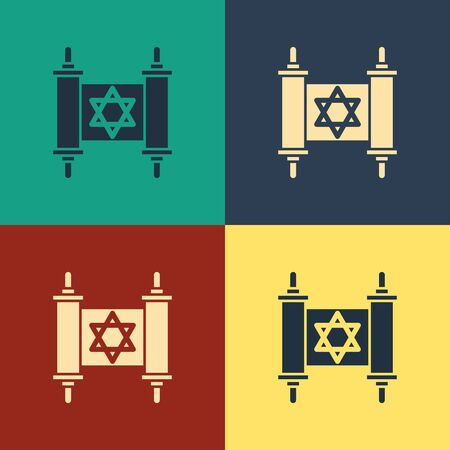 Color Torah scroll icon isolated on color background. Jewish Torah in expanded form. Star of David symbol. Old parchment scroll. Vintage style drawing. Vector Illustration