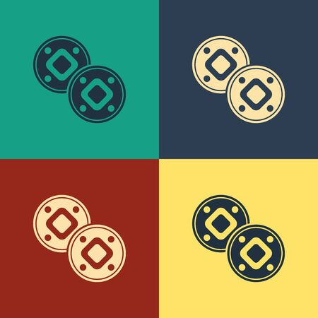Color Jewish coin icon isolated on color background. Currency symbol. Vintage style drawing. Vector Illustration