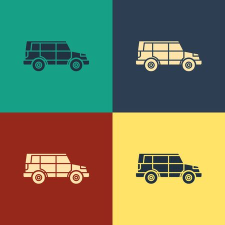 Color Off road car icon isolated on color background. Vintage style drawing. Vector Illustration