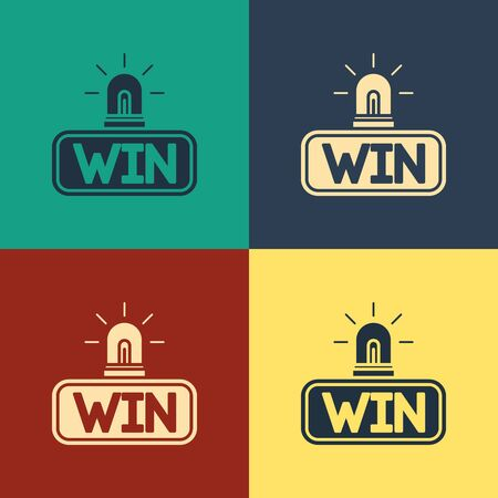 Color Casino win icon isolated on color background. Vintage style drawing. Vector Illustration