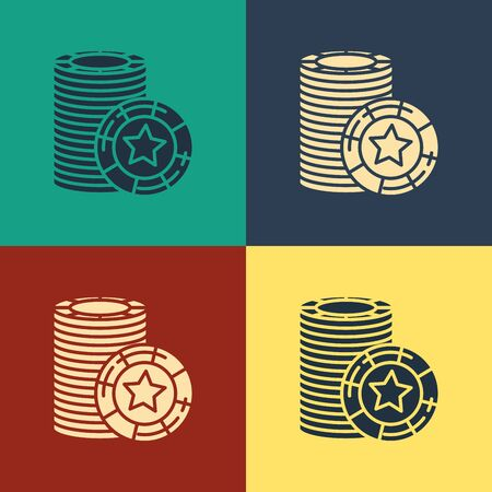 Color Casino chips icon isolated on color background. Casino gambling. Vintage style drawing. Vector Illustration 写真素材 - 129887320