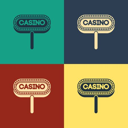 Color Casino signboard icon isolated on color background. Vintage style drawing. Vector Illustration
