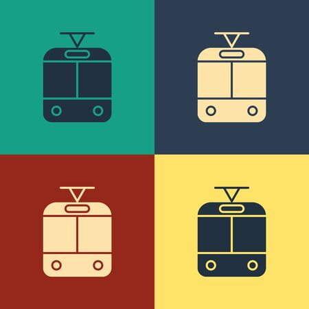 Color Tram and railway icon isolated on color background. Public transportation symbol. Vintage style drawing. Vector Illustration