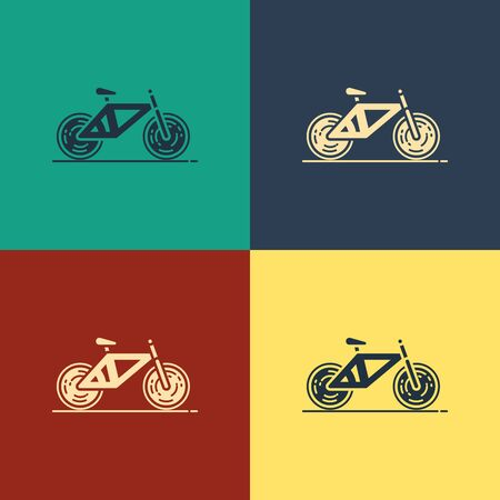 Color Bicycle icon isolated on color background. Bike race. Extreme sport. Sport equipment. Vintage style drawing. Vector Illustration Illustration