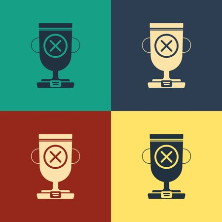Color Award cup icon isolated on color background. Winner trophy symbol. Championship or competition trophy. Sports achievement sign. Vintage style drawing. Vector Illustration Иллюстрация