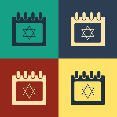 Color Jewish calendar with star of david icon isolated on color background. Hanukkah calendar day. Vintage style drawing. Vector Illustration Ilustração