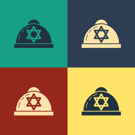 Color Jewish kippah with star of david icon isolated on color background. Jewish yarmulke hat. Vintage style drawing. Vector Illustration