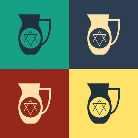 Color Decanter with star of david icon isolated on color background. Pottery jug. Organic product in carafe. Vintage style drawing. Vector Illustration