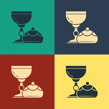 Color Jewish goblet and hanukkah sufganiyot icon isolated on color background. Jewish sweet bakery. Wine cup for kiddush. Vintage style drawing. Vector Illustration Ilustração