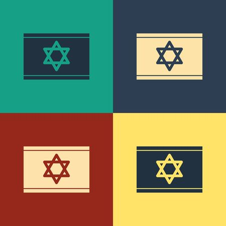 Color Flag of Israel icon isolated on color background. National patriotic symbol. Vintage style drawing. Vector Illustration Ilustração