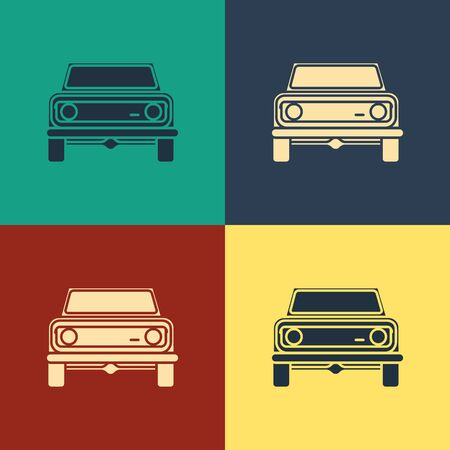 Color Off road car icon isolated on color background.